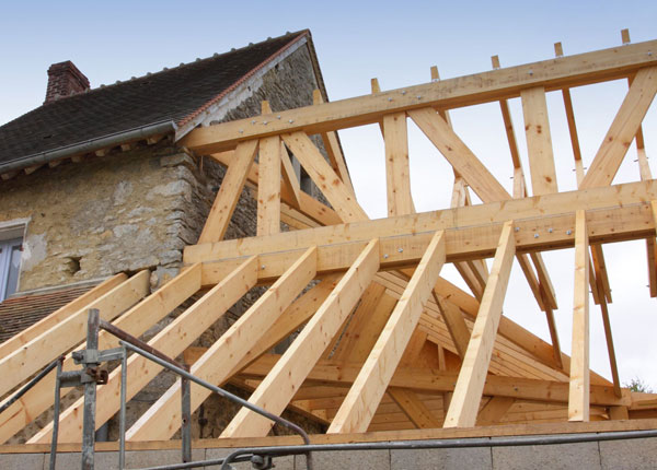 Cut roofs another view showing the broken hip framing for Roof framing cost